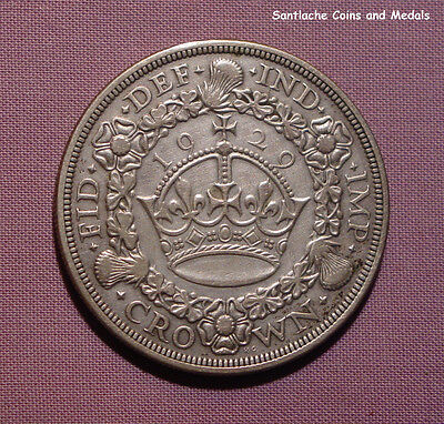 1929 KING GEORGE V SILVER WREATH CROWN - Scarce Low Grade Coin