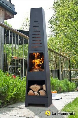 2nd La Hacienda Skyline Black Steel Garden Chiminea Laser Cut Design 150cm High