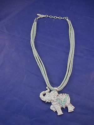 """Necklace with Bejeweled Elephant Pendant and Corded """"Chain"""""""