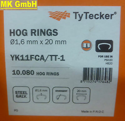 Senco / TyTecker 10.080 Hog Rings flexible Klammern 1,6x20mm für Auto Polsterung