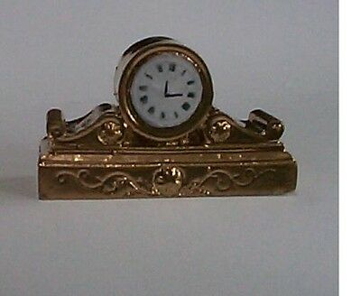 dollshouse gold clock mantel 1/12 scale miniature ornament
