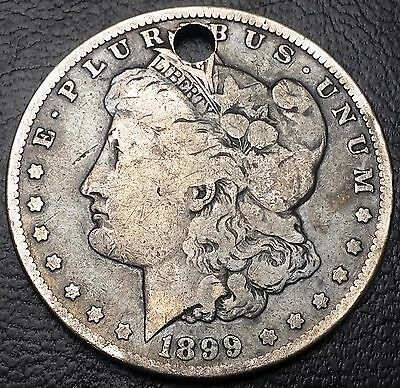 1899 Morgan 90% Silver Dollar $1 ***Holed as a Medal / Pendant*** Nice Detail