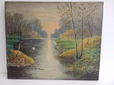 really old painting oil canvas RIVER landscape
