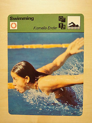 KOMELIA ENDER EAST GERMANY Swimmer Sportscaster Rencontre Fact Card -  Rare