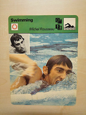 MICHEL ROUSSEAU FRENCH SWIMMER Sportscaster Rencontre Fact Card -  Rare