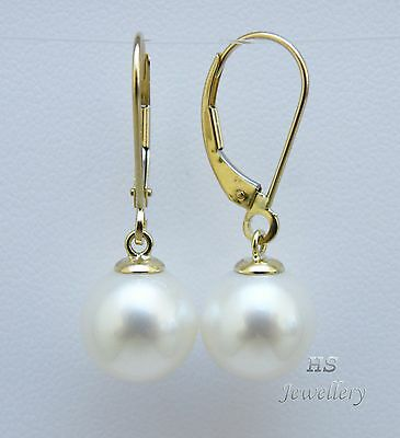 HS Round South Sea Cultured Pearl 10mm Hoop Earrings 14K Yellow Gold AAA Grading