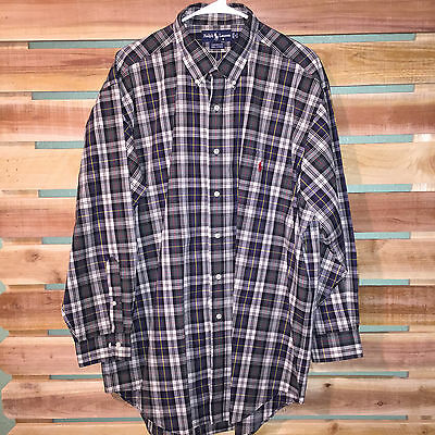 Euc Mens Polo Ralph Lauren Plaid Checks Pony Logo Dress Shirt 17 32/33