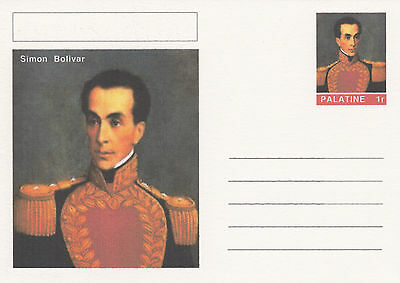 CINDERELLA - 4457 - SIMON BOLIVAR on Fantasy Postal Stationery card