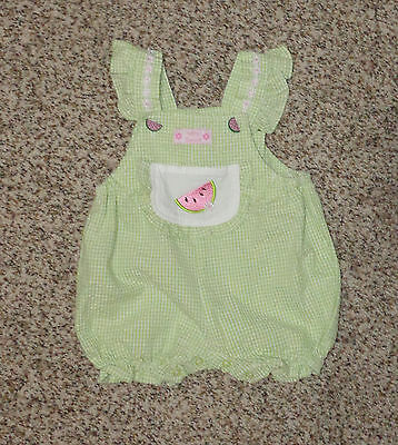 Cradle Togs Baby Girls Romper Green White Gingham Watermelon 3-6 Months EUC