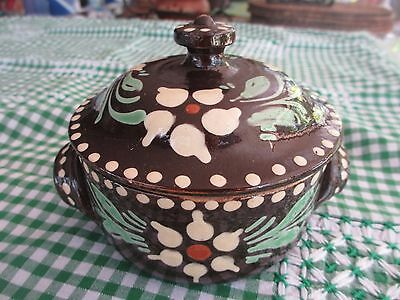 Vintage Gorgeous pottery Jar with Lid,Country,Folk Art design