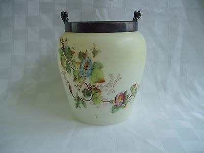 Antique Biscuit Barrel Jar Hand-Painted Floral Custard Glass Missing Lid