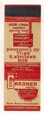 Gardner Hotel Massachusetts Ave at Norway, Boston MA Matchcover 062217