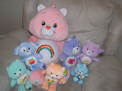 "Large 24"" Cheer Care Bear 25th Anniversary + 6 Smaller Bears"