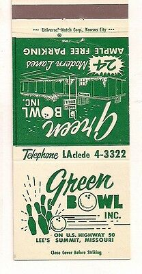 Green Bowl, Inc. U.S. Hwy 50, Lee's Summit MO Jackson Matchcover 061217