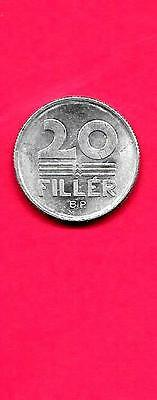 Hungary Hungarian Km573 1974 Unc-Uncirculated Old Aluminum 20 Filler Coin