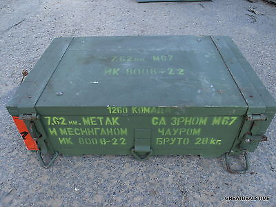 Vintage Russian Ammunition Crate Military Crate 7.62 Ammo Box Wooden Wood Box #8