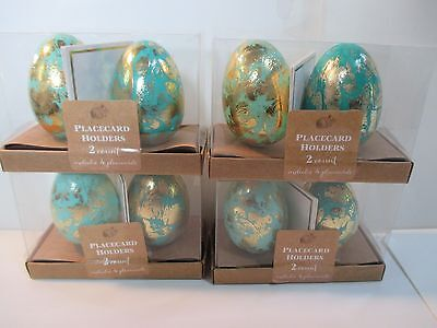 4 Boxes (Total 8) Blue Teal Egg Place Card Set Easter Decorations