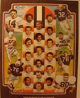 1980's CLEVELAND BROWNS ALL-TIME ALL STAR Print AUTOGRAPHED by GRAHAM,MOTLEY