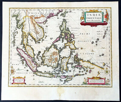 1639 Jansson Antique Map East Indies, Indonesia, Australia, SE Asia - Dufken