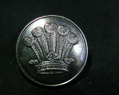 5 OSTRICH FEATHERS IN DUCAL CROWN 25mm SILVER Livery Button P&S FIRMIN 1840-1844