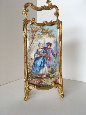 19th C.Vienna Enamel & Gilt Bronze Antique Miniature Rococo Dressing Screen