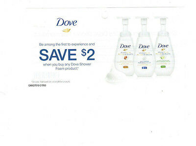 COUPONS SAVE 6 X $2 on Dove Shower Foam Product  - CANADA ONLY