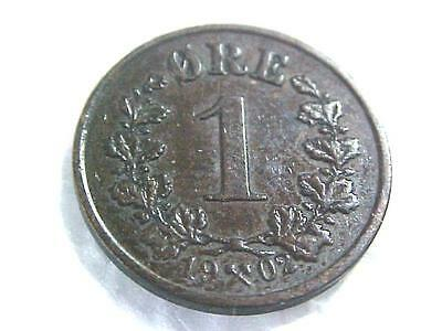 Nice better grade 1902 Norway 1 ore  coin