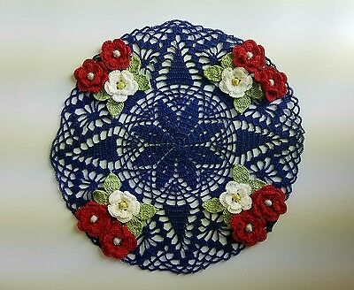 Lovely 4Th Of July Holiday Red White Blue Handmade Crochet Flowers Doily ~ New ~