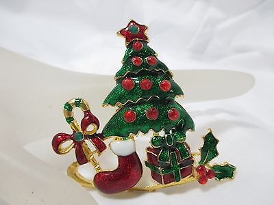 Enamel Christmas Tree Scene Brooch Pin w/Lucite RS Gift Stocking Candy Cane