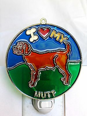 """STAINED GLASS STYLE """" Mut """" DOG NIGHT LIGHT- GREAT GIFT FOR ALL OCCASIONS !"""