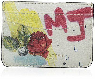 MARC JACOBS $195 Card Case Wallet MADISON Collage Print Off White Multicolor NWT