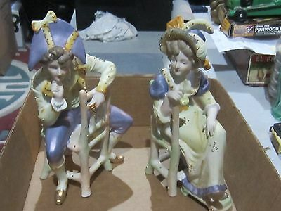 2 Made in Occupied Japan large vintage bisque porcelain lord seated PAULUX gold