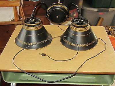 Vintage Mid Century Black & Gold Wall Mount Sconce  Tole Lamp Light works