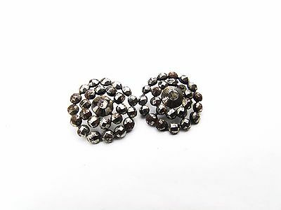 Antique Georgian Cut Steel Work 2 A Pair Of Buttons For Clothing