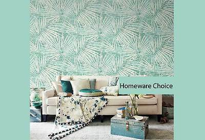 Tropical palm tree leaves fronds AQUA wallpaper Shop fitting Murals Wall paper
