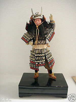 Fine Old Japanese Musha Ningyo Samurai Warrior Hina Boy's Day Doll & Stand, OLD