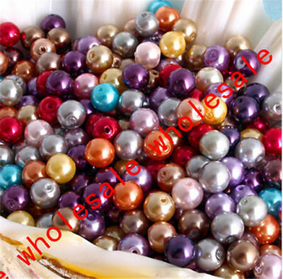 50 PCS 6 mm Mixed Color Crystal Glass Spacer Beads Round Pearl Diy Accessories