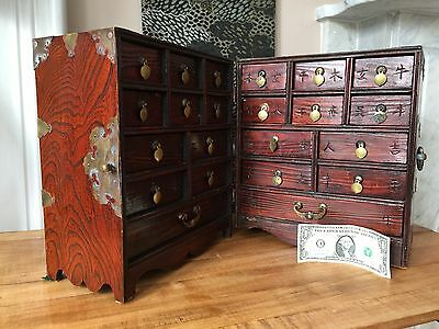 19th C CHINESE Apothecary Travel CHEST~Jichimu Hardwood