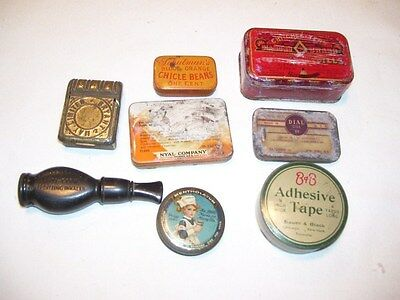 Lot #1 Antique Vintage Metal Pill and Medicine Tins and More
