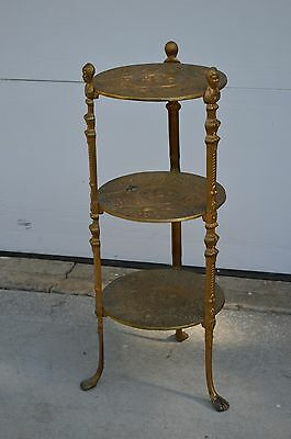 VTG ANTIQUE ORNATE 3 TIER PLANT STAND SIDE TABLE CHERUB Brass Art Nouveau