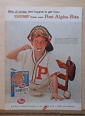 1959 magazine ad for Post-Alpha Bits - little league baseball player chows down