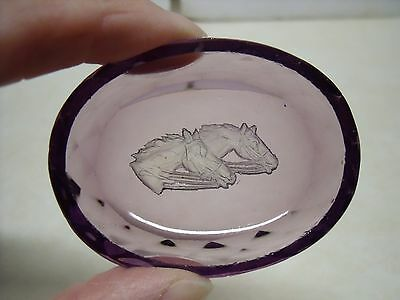 Equestrian Purple cut Glass Crystal Horses heads Frosted Salt/Ring/jewelry Dish