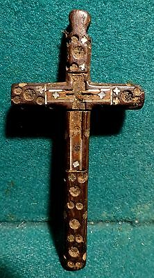 Antiq 18th LGE 105mm PECTORAL WOOD CROSS w/INLAID MOTHER OF PEARL FROM HOLY LAND