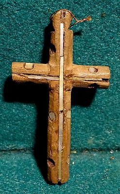 Antiq 18th 58mm PECTORAL WOOD CROSS w/INLAID MOTHER OF PEARL FROM HOLY LAND