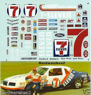 Nascar Decal # 7 - Eleven 1984 Ford Thunderbird Kyle Petty  - 1/24