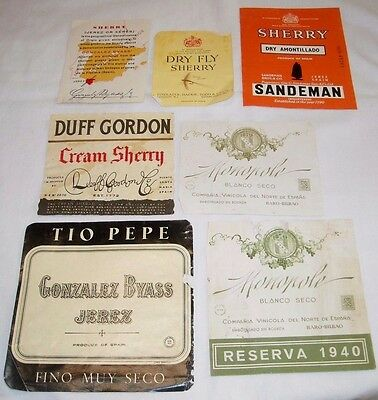 7 Vintage Spain Wine Labels  Gonzalez Byass Jerez, Seco 1940 Duff Gordon Dry Fly