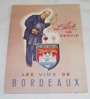 Vintage French France L'art De Servir Les Vins De Bordeaux Wine Map La Gironde