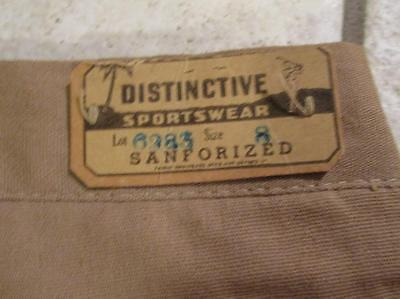 VTG DESTROYED 1940s 50s DISTINCTIVE SPORTSWEAR SANFORIZED BUTTON FLY WORK PANTS