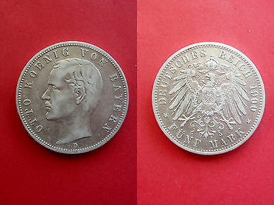 German Reich Kingdom Of Bavaria 5 Mark 1900 D Otto Silver