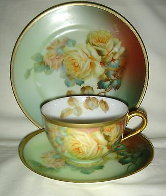 Antique / Vintage Trio: Cup, Saucer & Plate With H/painted Flowers & Gold Signed